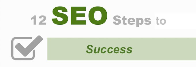 Banner with text of 12 Steps to SEO success.